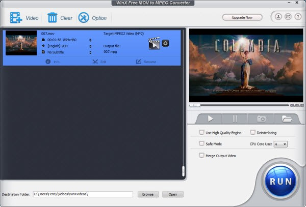 WinX Free MOV to MPEG Video Converter 5.0.6