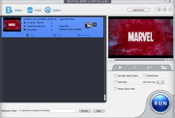 WinX Free MPEG to 3GP Converter 5.0.6