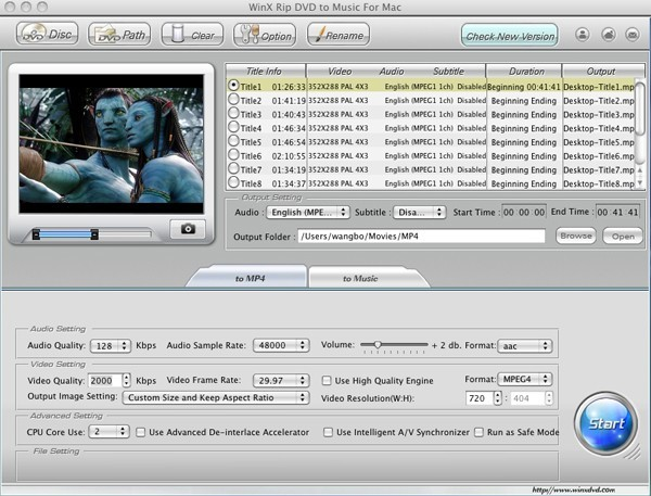 WinX Rip DVD to Music for Mac 2.0