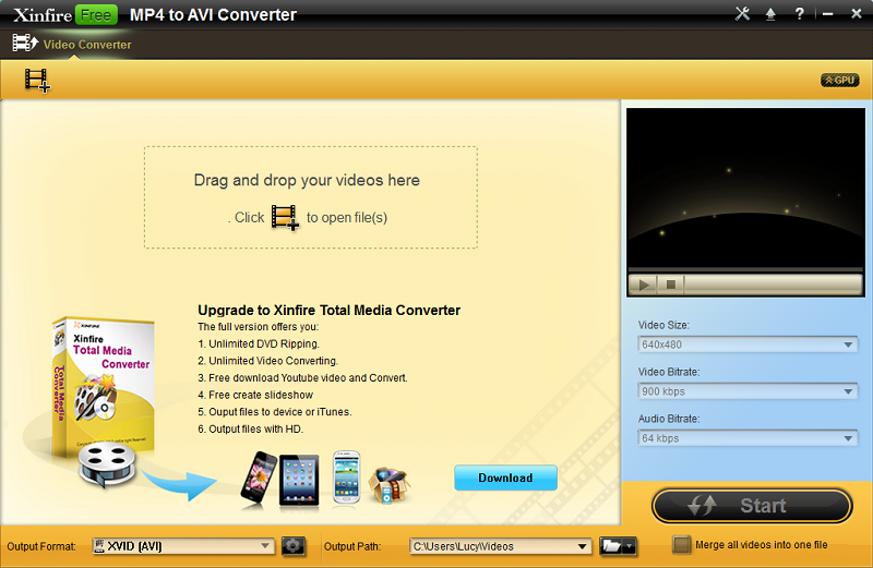 Xinfire Free MP4 to AVI Converter 1.0.0.0