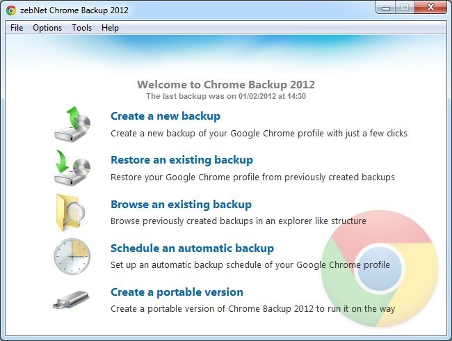 zebNet Chrome Backup 2012 3.4.19